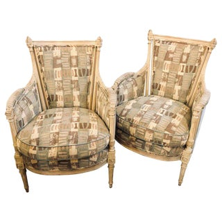 Pair Hollywood Regency Maison Jansen Bergere or Arm Chairs For Sale
