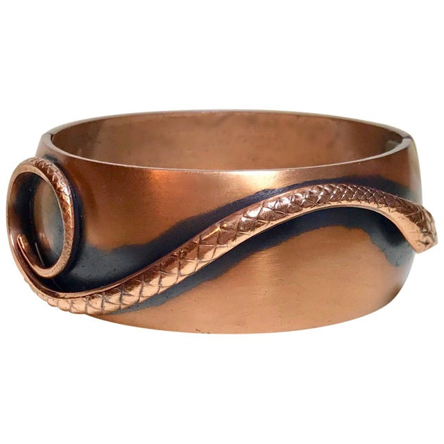 Metal Whiting & Davis Mid-Century Copper Snake Hinged Bangle For Sale - Image 7 of 7