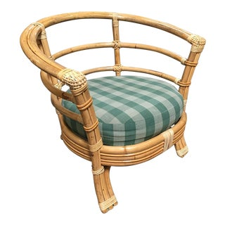 Restored Mid-Century Rattan Barrel Shaped Armchair With Skeleton Arms For Sale