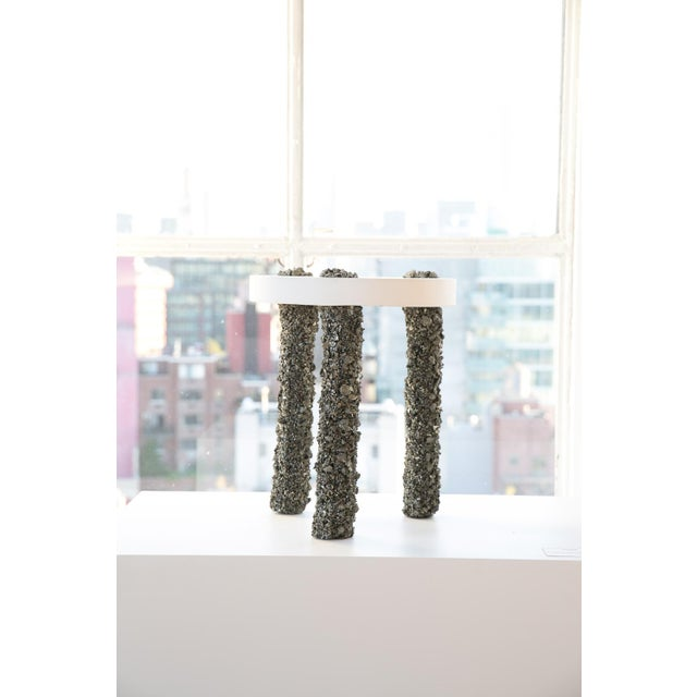 Not Yet Made - Made To Order Hand Made Three-Leg Side Table of Pyrite and White Plaster, by Samuel Amoia For Sale - Image 5 of 5