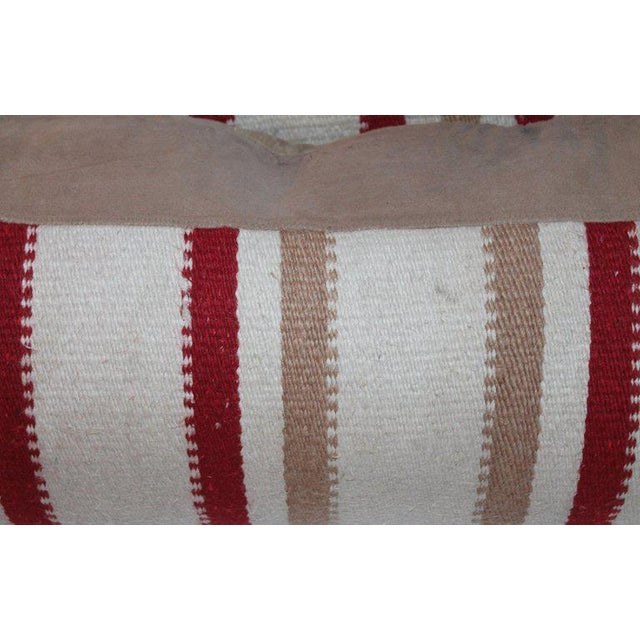 Tan Navajo Indian Weaving Saddle Blanket Pillows - A Pair For Sale - Image 8 of 10