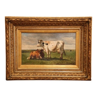 19th Century Gilt Framed Oil on Canvas Cow Painting Signed Paul Henri Schouten