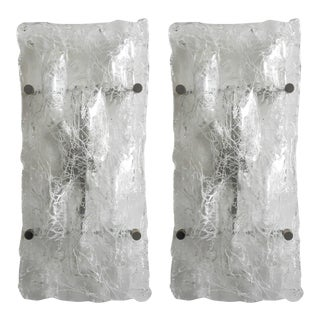 1960s Crackled Sconces / Flush Mounts by Venini - a Pair For Sale