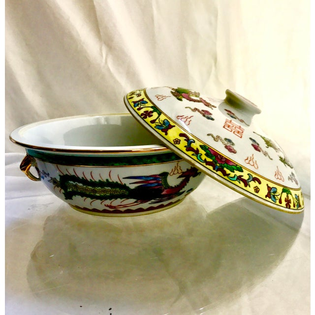 Vintage Chinese Dragon Phoenix Wedding Luck Tureen For Sale - Image 4 of 11