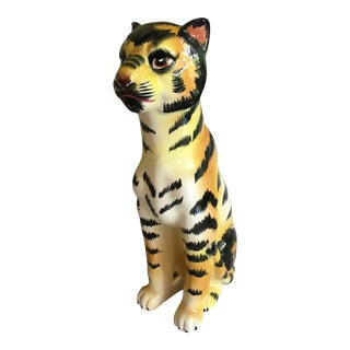 C 1970 Hand Painted Leopard Figurine For Sale