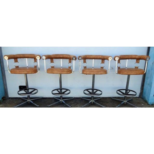 Vintage Vinyl Bar Stools - Set of 4 - Image 3 of 6