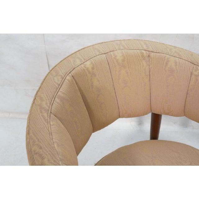 Contemporary Floating Back Sculptural Modernist Barrel Back Lounge Chair in Tan Moire Fabric Upholstery For Sale - Image 3 of 11