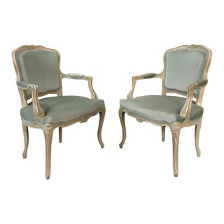 Pair 19th Century French Louis XV Fauteuils ~ Armchairs For Sale