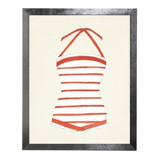 """Orange and White Striped Bathing Suit Watercolor Print - 25"""" X 31"""" For Sale"""