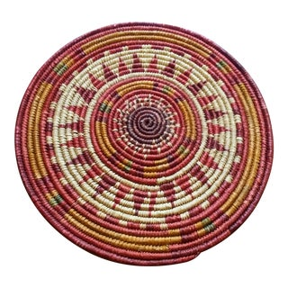 Boho Chic Woven Tribal Basket Wall Accent For Sale
