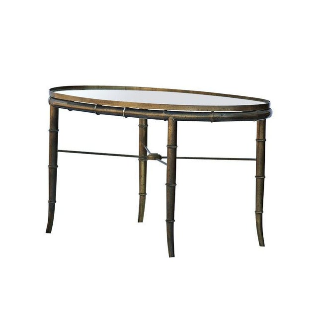 Mid-Century Modern Mastercraft Brass Bamboo Oval Cocktail Table For Sale - Image 3 of 5