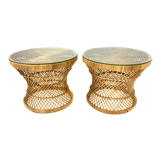 1970s Round Hourglass Wicker Rattan Side Tables - a Pair For Sale
