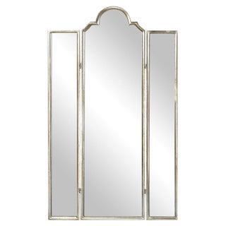 Modern Mirror 3 Panel Screen For Sale