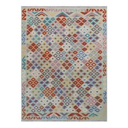 Light Green Handmade All Wool Colorful Reversible Kilim Rug - 5′10″ × 7′5″ For Sale