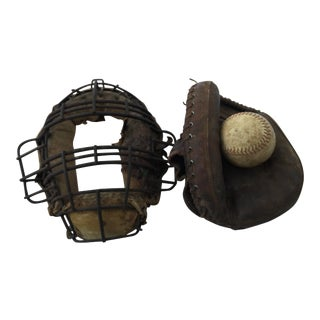 Vintage Baseball Pitchers Mask & Glove For Sale