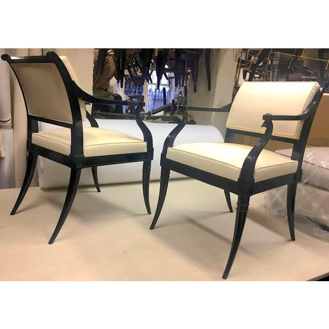White Maison Jansen Chicest Black Neoclassic Exceptional Pair of Armchairs For Sale - Image 8 of 8
