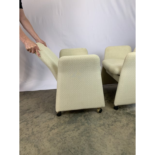 Contemporary Vladimir Kagan Style Modern Chromcraft Rolling Tilting Club Chairs For Sale - Image 3 of 10