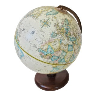 Mid 20th Century Vintage World Classic Series Replogle Globe on Wood Base For Sale