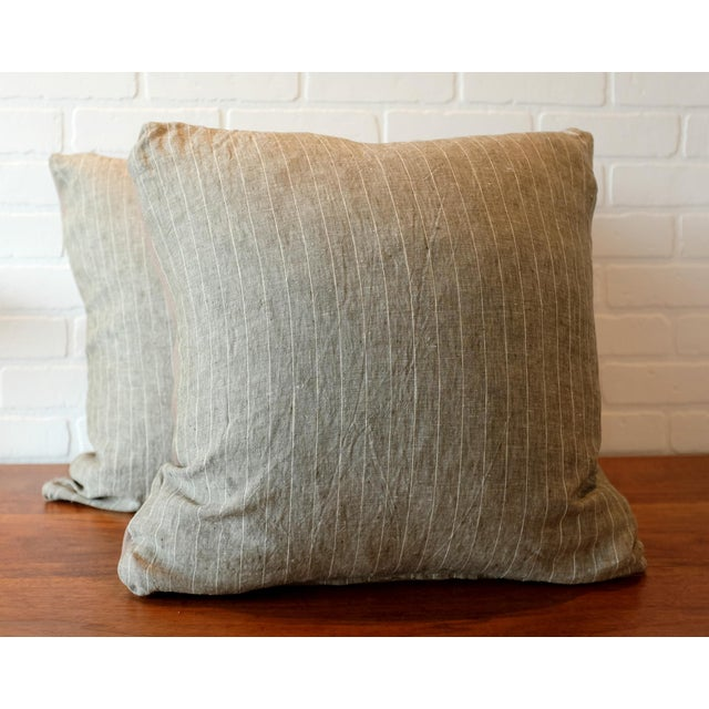 Fabric Rogers & Goffigon Washed Linen Striped Pillow Covers - A Pair For Sale - Image 7 of 7