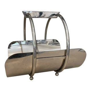 Global Views Machine Age Style Chrome Tone Caddy For Sale