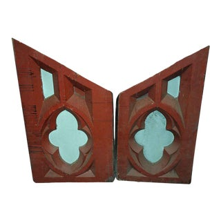 Antique Carved Gothic Wood Panels - A Pair For Sale