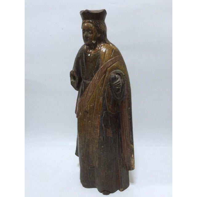 19th Century Carved Wood Religious Sculpture of Saint Agatha - Image 5 of 6