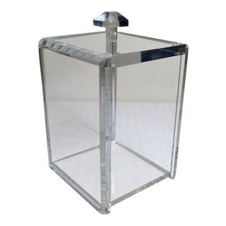 1960s Contemporary Clear Lucite Square Ice Bucket