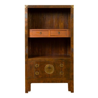 Chinese 19th Century Elmwood Bookcase with Doors, Drawers and Brass Hardware For Sale