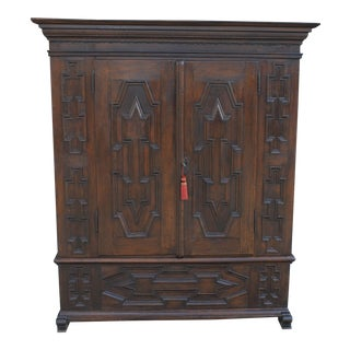 19th Century Antique German Oak Armoire Wardrobe Clothes Linen Closet For Sale