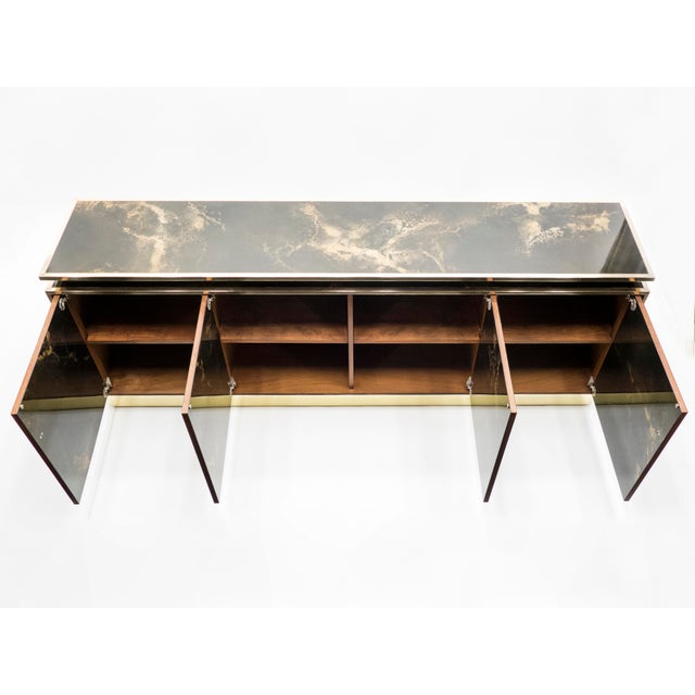 Rare Golden Lacquer and Brass Maison Jansen Sideboard 1970s For Sale - Image 9 of 13