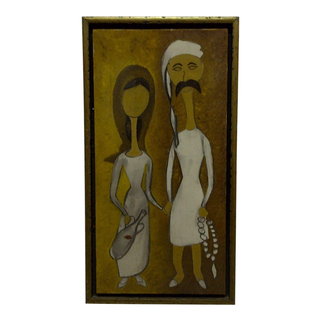 "Original Framed ""Man & Wife"" Painting on Canvas For Sale"