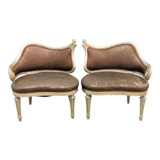 Hollywood Regency Shabby Curved Painted Chairs- a Pair For Sale