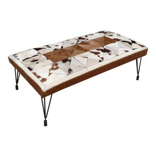 Modern Gambrell Renard Hytower Leather & Cowhide Bench For Sale