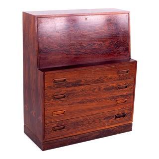 1960s Mid-Century Modern Arne Wahl Iverson for Vinde Mobelfabrik Rosewood Drop-Front Secretary Desk For Sale