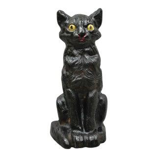 """Antique Art Nouveau Cast Iron 9"""" Hand Painted Black Cat Doorstop For Sale"""