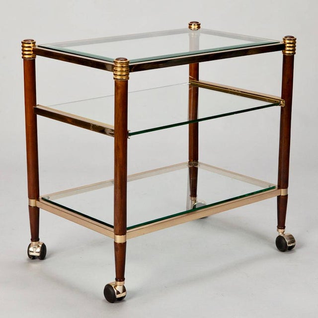 Mid-Century Italian Brass Glass and Polished Wood Trolley Table or Bar Cart For Sale In Detroit - Image 6 of 8