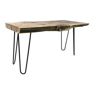 Industrial Handcrafted Live Edge Walnut Coffee Table For Sale