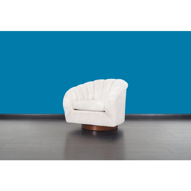 White Vintage Walnut Channel Back Swivel Lounge Chairs by Milo Baughman For Sale - Image 8 of 12