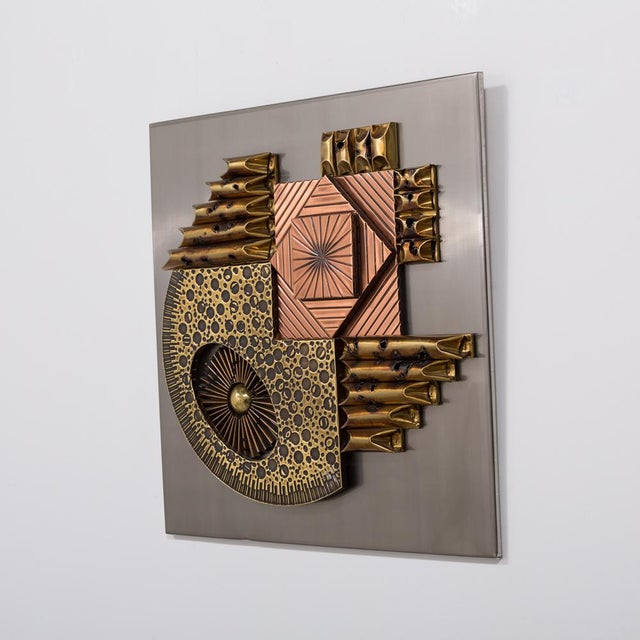 1970s A Square Brutalist Metal Wall Panel Sculpture 1970s For Sale - Image 5 of 5