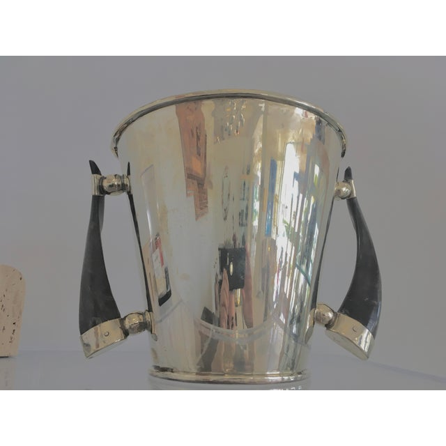 Silver Plate Wine Cooler Ice Bucket With Horn Handles For Sale - Image 10 of 13