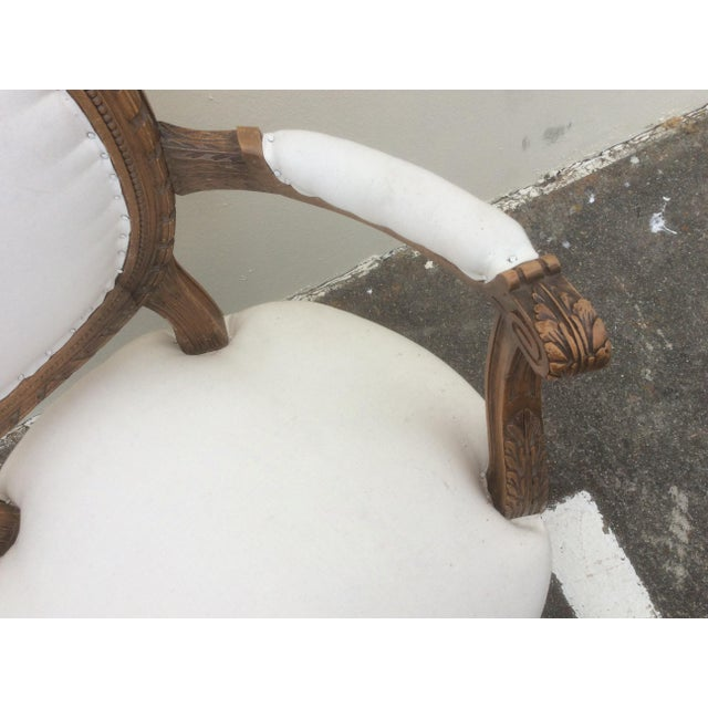 French Provincial French Arm Chair With Rounded Back For Sale - Image 3 of 10