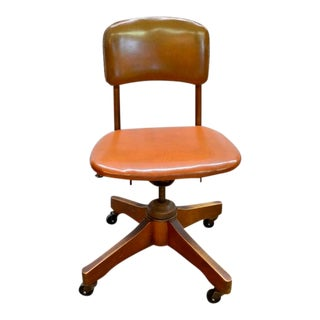 Vintage Armless Rolling Desk Office Chair For Sale