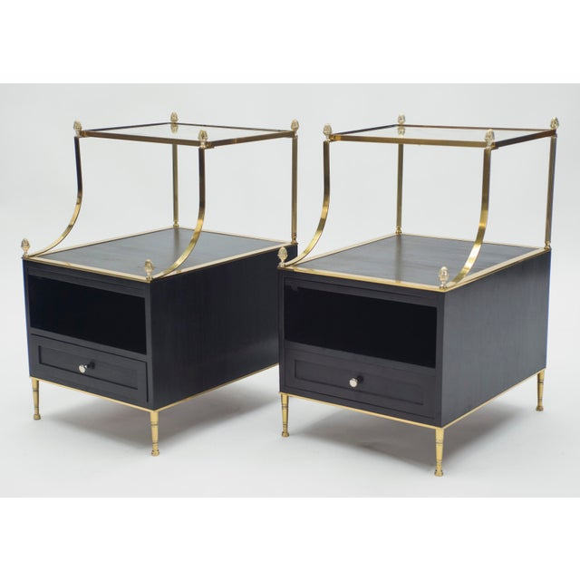 Metal Rare Pair of French Maison Charles Brass Mirrored End Tables 1950s For Sale - Image 7 of 13