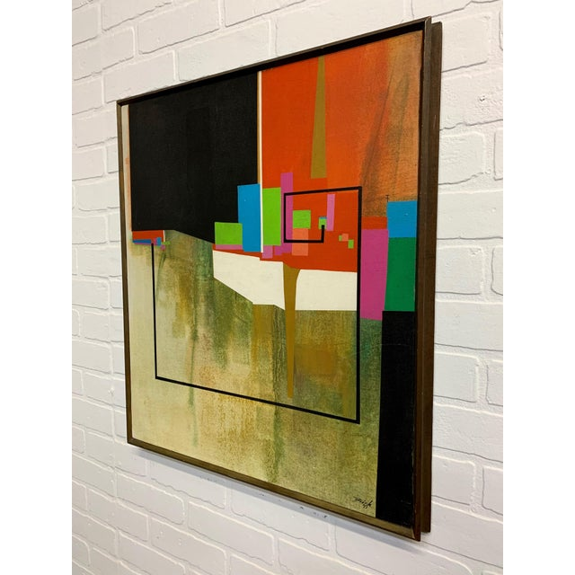 Modern Modernist Geometric Painting, 1971 For Sale - Image 3 of 13