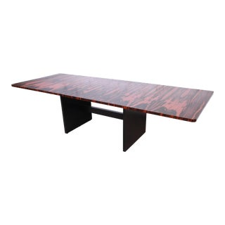 John Stuart Mid-Century Modern Exotic Calamander Wood Extension Dining Table, Newly Refinished For Sale