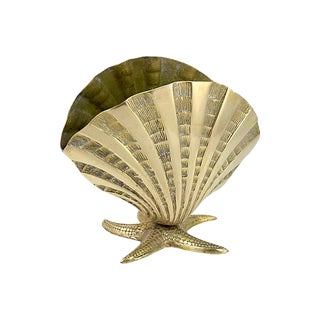 Solid Brass Seashell & Starfish Vase For Sale