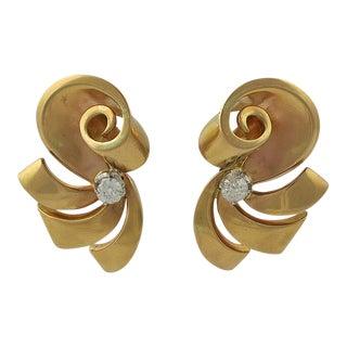 18k Gold and Diamond Pierced Earrings For Sale