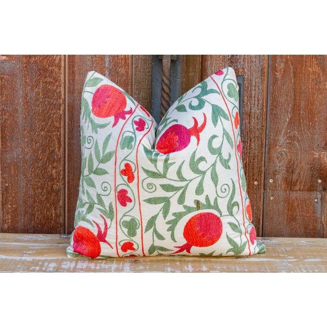 Pomegranate & Green Ivy Uzbek Suzani Pillow For Sale - Image 9 of 10