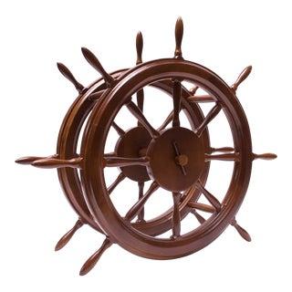 Vintage Hellerware Maritime Ship's Wheel 8-Bottle Winerack For Sale