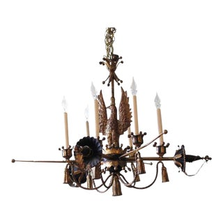 Tôle Painted and Gilt Eagle and Swords Chandelier